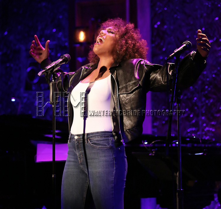"""Liisi LaFontaine on stage during a Song preview performance of the BeBe Winans Broadway Bound Musical """"Born For This"""" at Feinstein's 54 Below on November 5, 2018 in New York City."""