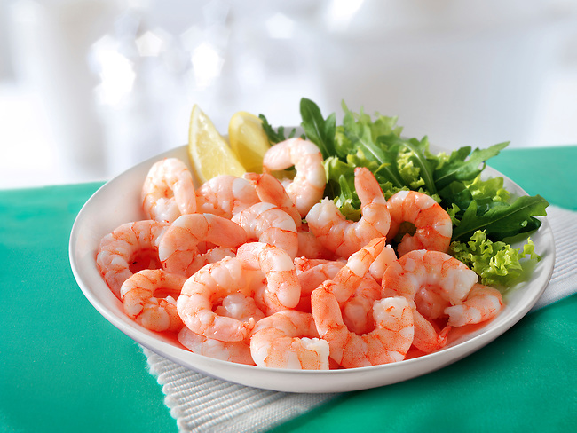 Fresh cooked prawns & salad
