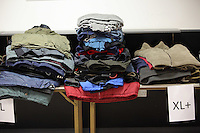 Pictured: Coats left for Give A Jack a Jacket Tuesday 29 November 2016<br />Re: Soup kitchen for homeless people organised by Swansea City FC and Woolwich at the Liberty Stadium, Wales, UK