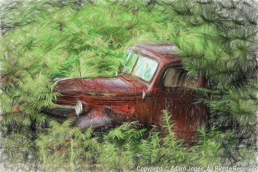 Painting effect on old abandoned truck, Hinckley, Minnesota