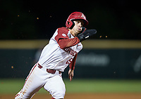 NWA Democrat-Gazette/BEN GOFF @NWABENGOFF<br /> Casey Martin, Arkansas shortstop, rounds third on his way to score on a single by Dominic Fletcher in the 7th inning vs LSU Thursday, May 9, 2019, at Baum-Walker Stadium in Fayetteville.