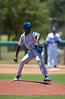 AZL Royals relief pitcher Adrian Solano (49) during an Arizona League game against the AZL Dodgers Lasorda on July 4, 2019 at Camelback Ranch in Glendale, Arizona. The AZL Royals defeated the AZL Dodgers Lasorda 4-1. (Zachary Lucy/Four Seam Images)
