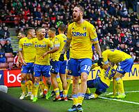 Leeds United's Pontus Jansson celebrates Pablo Hernandez's goal <br /> <br /> Photographer Alex Dodd/CameraSport<br /> <br /> The EFL Sky Bet Championship - Sheffield United v Leeds United - Saturday 1st December 2018 - Bramall Lane - Sheffield<br /> <br /> World Copyright &copy; 2018 CameraSport. All rights reserved. 43 Linden Ave. Countesthorpe. Leicester. England. LE8 5PG - Tel: +44 (0) 116 277 4147 - admin@camerasport.com - www.camerasport.com