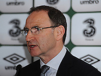 29th March 2015; UEFA EURO 2016 Championship Qualifier Group D, Ireland vs Poland, Aviva Stadium, Dublin<br /> Republic of Ireland manager Martin O&rsquo;Neill speaks to the media in the post match press conference.<br /> Picture credit: Tommy Grealy/actionshots.ie.