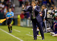 Headcoach of the Chicago Fire Carlos de los Cobos yells directions to his players. The Chicago Fire defeated CD Chivas USA 3-1 at Home Depot Center stadium in Carson, California on Saturday October 23, 2010.