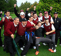 Ballybunion team celebrate winning the Junior Cup on the 16th during for the AIG Cups & Shields Finals in Royal Tara Golf Club on Thursday 19th September 2013.<br /> Picture:  Thos Caffrey / www.golffile.ie