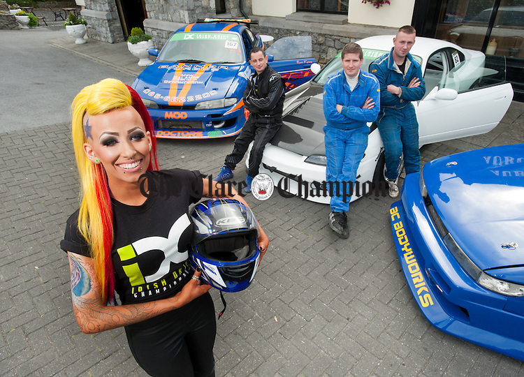 Alison Cullinan of Shannon with Clare drivers Ross Kenny, Ennis, Francis O Shea, Kilkee and Trevor Mc Inerney of O Callaghan's Mills, at the launch of the Irish Drift Championship Round 3 which takes place in Ennis Mart on the 28th and 29th June. Photograph by John Kelly