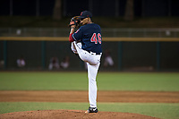 AZL Indians 2 relief pitcher Wilton Sanchez (46) delivers a pitch during an Arizona League game against the AZL Dodgers at Goodyear Ballpark on July 12, 2018 in Goodyear, Arizona. The AZL Indians 2 defeated the AZL Dodgers 2-1. (Zachary Lucy/Four Seam Images)