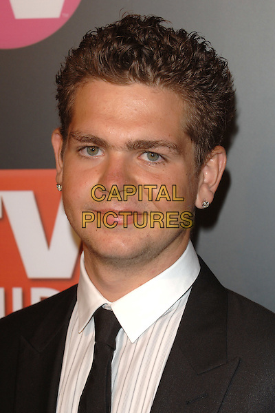 JACK OSBOURNE.TV Guide & Inside TV 3rd Annual Post Emmy Party.Roosevelt Hotel, Hollywood, CA..18th September 2005.Ref:MOO.portrait headshot black white suit blazer skinny thin slim tie stubble stud diamond earrings posed.www.capitalpictures.com.sales@capitalpictures.com.©Capital Pictures.