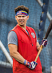 13 October 2016: Washington Nationals catcher Jose Lobaton awaits his turn in the batting cage prior to Game 5 of the NLDS against the Los Angeles Dodgers at Nationals Park in Washington, DC. The Dodgers edged out the Nationals 4-3, to take Game 5 of the Series, 3 games to 2, and move on to the National League Championship Series against the Chicago Cubs. Mandatory Credit: Ed Wolfstein Photo *** RAW (NEF) Image File Available ***