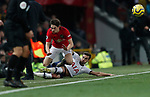 Manchester United's Daniel James (C) is tackled by Tottenham Hotspur's Harry Winks and clashes with Tottenham Hotspur's Manager Jose Mourinho during the Premier League match at Old Trafford, Manchester. Picture date: 4th December 2019. Picture credit should read: Darren Staples/Sportimage