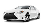 Stock pictures of low aggressive front three quarter view of a 2015 Lexus RC F Sport 2 Door Coupe 2WD Low Aggressive