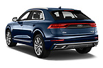 Car pictures of rear three quarter view of a 2019 Audi Q8 S Line 5 Door SUV angular rear