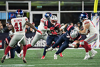 FOXBORO, MA - OCTOBER 10: New England Patriots Offensive lineman Ted Karras (75) blocks for New England Patriots Runningback Sony Michel (26) during a game between New York Giants and New England Patriots at Gillettes on October 10, 2019 in Foxboro, Massachusetts.
