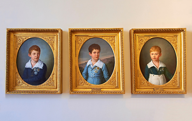 From Left To Right - Prince Charles, Prince Ferdinand and Prince Leopold painted by Giuseppe Cammarano. The Kings of Naples Royal Palace of Caserta, Italy. A UNESCO World Heritage Site
