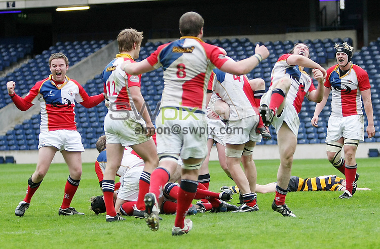 PICTURE BY VAUGHN RIDLEY/SWPIX.COM - Rugby Union - Scottish Hydro Electric Cup Finals Day - Plate Final - Portobello FP RFC v Aberdeen University RFC - Murrayfield, Edinburgh, Scotland - 03/05/08...Copyright - Simon Wilkinson - 07811267706..Aberdeen University celebrate winning the Plate Final.