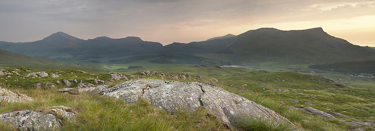 Panoramic view Llyn-y-Gader, Llyn-y-Dywarchen, Mynydd Mawr and Mynydd Drws-y-Coed from the Rhyd-Ddu footpath on the lower slopes of Snowdon, Snowdonia, North Wales, Uk