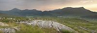 Panoramic view Llyn-y-Gader, Llyn-y-Dywarchen, Mynydd Mawr and Mynydd Drws-y-Coed from the Rhyd-Ddu footpath on the lower slopes of Snowdon, Snowdonia, North Wales, Uk
