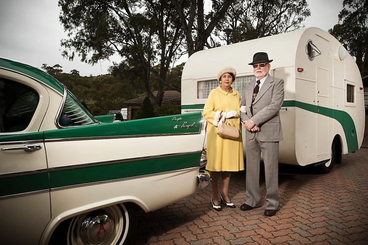 Noel and Raylene Cowie with their vintage Caravan.
