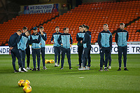 27th December 2019; Dens Park, Dundee, Scotland; Scottish Championship Football, Dundee Football Club versus Dundee United; Dundee players inspect the pitch before the match - Editorial Use
