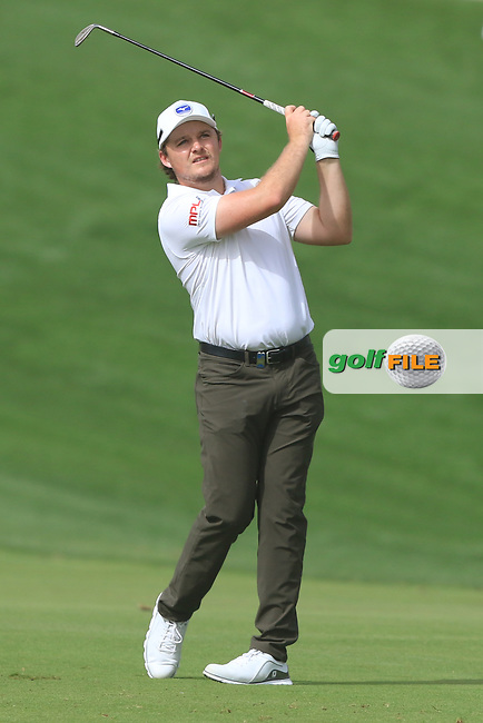 Eddie Pepperell (ENG) on the 3rd during Round 1 of the Omega Dubai Desert Classic, Emirates Golf Club, Dubai,  United Arab Emirates. 24/01/2019<br /> Picture: Golffile | Thos Caffrey<br /> <br /> <br /> All photo usage must carry mandatory copyright credit (&copy; Golffile | Thos Caffrey)