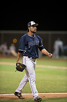 AZL Padres 2 relief pitcher Hazahel Quijada (28) walks off the field between innings of an Arizona League game against the AZL Padres 1 at Peoria Sports Complex on July 14, 2018 in Peoria, Arizona. The AZL Padres 1 defeated the AZL Padres 2 4-0. (Zachary Lucy/Four Seam Images)