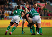 Harlequin's Dino Lamb is tackled by Newcastle Falcons'  Sam Lockwood and Jack Payne<br /> <br /> Photographer Bob Bradford/CameraSport<br /> <br /> Premiership Rugby Cup Round 2 Pool 1 - Harlequins v Newcastle Falcons - Sunday 4th November 2018 - Twickenham Stoop - London<br /> <br /> World Copyright &copy; 2018 CameraSport. All rights reserved. 43 Linden Ave. Countesthorpe. Leicester. England. LE8 5PG - Tel: +44 (0) 116 277 4147 - admin@camerasport.com - www.camerasport.com