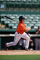 Baltimore Orioles shortstop Cadyn Grenier (54) follows through on a swing during a Florida Instructional League game against the Pittsburgh Pirates on September 22, 2018 at Ed Smith Stadium in Sarasota, Florida.  (Mike Janes/Four Seam Images)