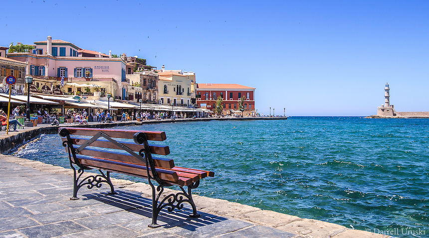 Fine Art Landscape Print Photograph. of a colourful Greek fishing port located in Chania, Crete, Greece.