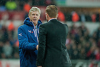 Sunday 9th November 2014<br /> Pictured: Arsene Wenger, Manager of Arsenal shakes hands with Garry Monk, Manager of Swansea City after the game <br /> Re: Barclays Premier League Swansea City v Arsenal at the Liberty Stadium, Swansea, Wales,UK