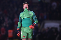 Charlton goalkeeper, Dillon Phillips, bites on his shirt to stay focused after saving a penalty from Doncaster's Joh Marquis in the shoot-out during Charlton Athletic vs Doncaster Rovers, Sky Bet EFL League 1 Play-Off Football at The Valley on 17th May 2019