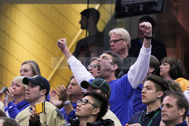 A Kentucky fan yells during first half of the Elite 8 of the 2015 NCAA Men's Basketball Tournament against the Notre Dame Fighting Irish at Quicken Loans Arena on Saturday, March 28, 2015 in Cleveland , OH. Photo by Jonathan Krueger   Staff.