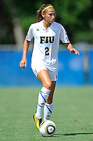 26 September 2010:  FIU's Chelsea Leiva (2) moves the ball upfield in the second half as the FIU Golden Panthers defeated the Arkansas State Red Wolves, 1-0 in double overtime, at University Park Stadium in Miami, Florida.