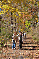 Hikers on the towpath, Delaware and Raritan Canal State Park, New Jersey