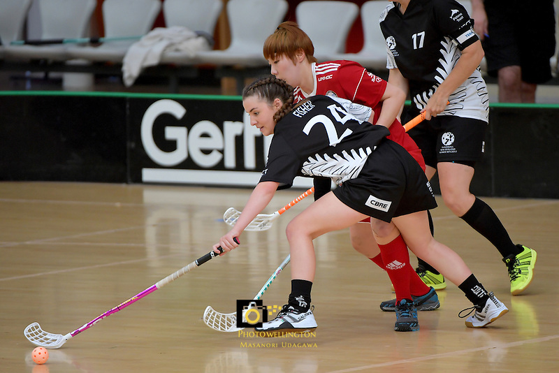 New Zealand's Amy Fisher and Korea's Yejin Shim in action during the World Floorball Championships 2017 Qualification for Asia Oceania Region - New Zealand v Korea at ASB Sports Centre , Wellington, New Zealand on Sunday 5 February 2017.<br /> Photo by Masanori Udagawa<br /> www.photowellington.photoshelter.com.