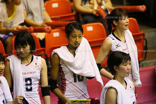 (L to R) <br /> Sarina Koga, <br /> Airi Miyabe, <br /> Saori Kimura (JPN), <br /> JULY 11, 2015 - Volleyball : <br /> FIVB Volleyball World Grand Prix Saitama 2015 <br /> preliminary round match <br /> between Japan 3-0 Dominican Republic <br /> at Saitama city memorial gymnasium <br /> in Saitama, Japan. <br /> (Photo by YUTAKA/AFLO SPORT)