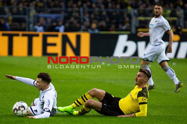 09.02.2019, Signal Iduna Park, Dortmund, GER, 1.FBL, Borussia Dortmund vs TSG 1899 Hoffenheim, DFL REGULATIONS PROHIBIT ANY USE OF PHOTOGRAPHS AS IMAGE SEQUENCES AND/OR QUASI-VIDEO<br /> <br /> im Bild | picture shows:<br /> Maximilian Philipp (Borussia Dortmund #20) bringt Dennis Geiger (Hoffenheim #8) zu Fall,  <br /> <br /> Foto &copy; nordphoto / Rauch