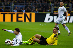 09.02.2019, Signal Iduna Park, Dortmund, GER, 1.FBL, Borussia Dortmund vs TSG 1899 Hoffenheim, DFL REGULATIONS PROHIBIT ANY USE OF PHOTOGRAPHS AS IMAGE SEQUENCES AND/OR QUASI-VIDEO<br /> <br /> im Bild | picture shows:<br /> Maximilian Philipp (Borussia Dortmund #20) bringt Dennis Geiger (Hoffenheim #8) zu Fall,  <br /> <br /> Foto © nordphoto / Rauch