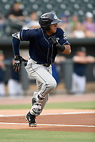 Center fielder Carlos Vidal (2) of the Charleston RiverDogs runs toward first in a game against the Columbia Fireflies on Monday, August 7, 2017, at Spirit Communications Park in Columbia, South Carolina. Columbia won, 6-4. (Tom Priddy/Four Seam Images)