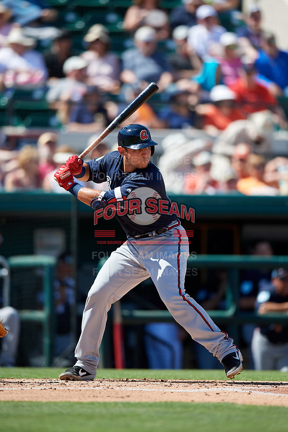 Atlanta Braves catcher Alex Jackson (70) at bat during a Grapefruit League Spring Training game against the Detroit Tigers on March 2, 2019 at Publix Field at Joker Marchant Stadium in Lakeland, Florida.  Tigers defeated the Braves 7-4.  (Mike Janes/Four Seam Images)