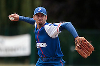 13 July 2010: Samuel Meurant of Team France pitches against Team Saint Martin during day 1 of the Open de Rouen, an international tournament with Team France, Team Saint Martin, Team All Star Elite, at Stade Pierre Rolland, in Rouen, France.