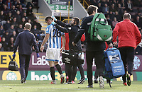 Huddersfield Town's goal scorer Christopher Schindler receives treatment for a head injury during the second half<br /> <br /> Photographer Rich Linley/CameraSport<br /> <br /> The Premier League - Burnley v Huddersfield Town - Saturday 6th October 2018 - Turf Moor - Burnley<br /> <br /> World Copyright &copy; 2018 CameraSport. All rights reserved. 43 Linden Ave. Countesthorpe. Leicester. England. LE8 5PG - Tel: +44 (0) 116 277 4147 - admin@camerasport.com - www.camerasport.com