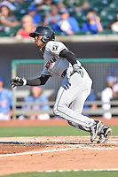 Birmingham Barons shortstop Tim Anderson (7) runs to first during a game against the Tennessee Smokies on August 2, 2015 in Kodak, Tennessee. The Smokies defeated the Barons 5-2. (Tony Farlow/Four Seam Images)