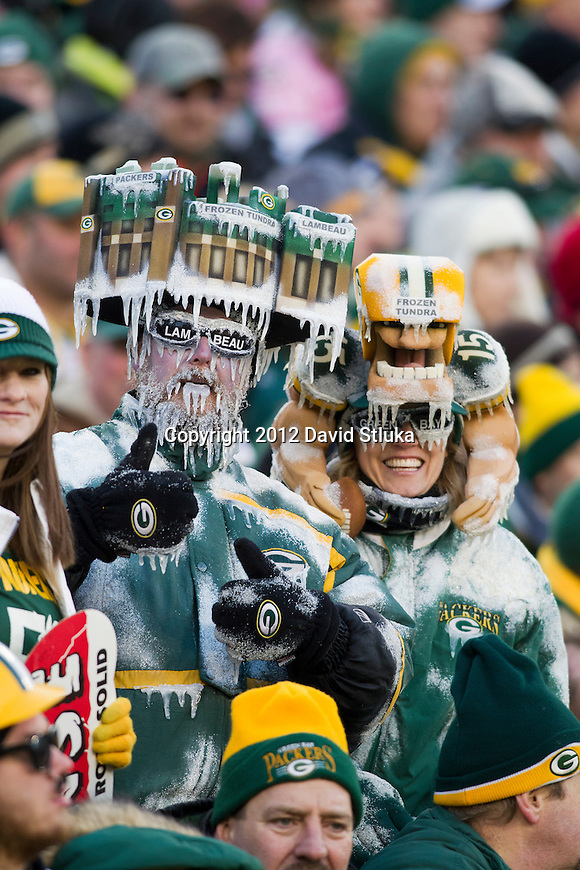 Green Bay Packer fans Jeff and Sandy Kahlow look on during an NFL divisional playoff football game against the Green Bay Packers on January 15, 2012 in Green Bay, Wisconsin. The Giants won 37-20. (AP Photo/David Stluka)