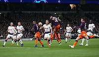 Manchester City's Nicolas Otamendi with a first half header<br /> <br /> Photographer Rob Newell/CameraSport<br /> <br /> UEFA Champions League Quarter-finals 1st Leg - Tottenham Hotspur v Manchester City - Tuesday 9th April 2019 - White Hart Lane - London<br />  <br /> World Copyright © 2018 CameraSport. All rights reserved. 43 Linden Ave. Countesthorpe. Leicester. England. LE8 5PG - Tel: +44 (0) 116 277 4147 - admin@camerasport.com - www.camerasport.com