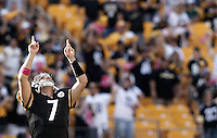 PITTSBURGH, PA - OCTOBER 09:  Ben Roethlisberger #7 of the Pittsburgh Steelers celebrates after throwing a touchdown pass against the Tennessee Titans during the game on October 9, 2011 at Heinz Field in Pittsburgh, Pennsylvania.  (Photo by Jared Wickerham/Getty Images)
