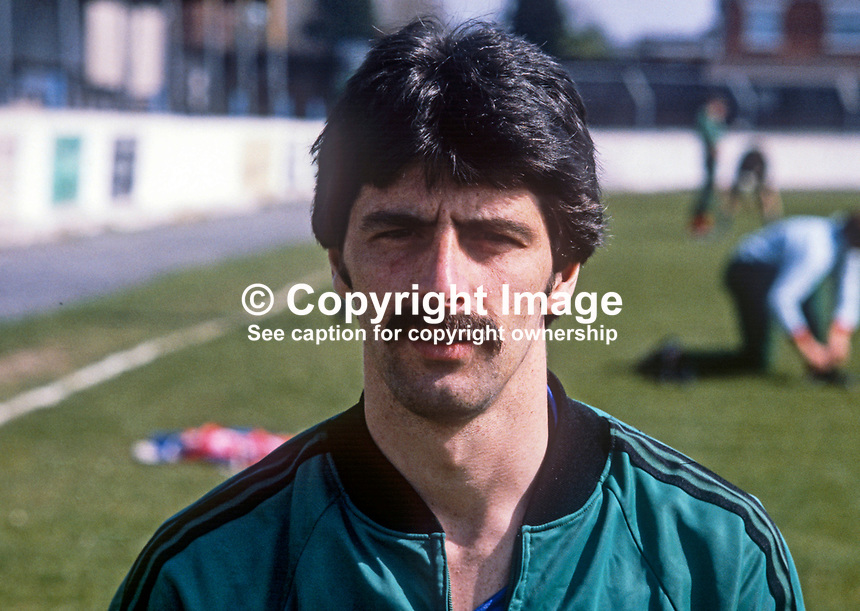 Felix Healey, Coleraine FC, N Ireland, training session, N Ireland track suit, March 1982. 198203000060FH<br /> <br /> Copyright Image from Victor Patterson, 54 Dorchester Park, Belfast, UK, BT9 6RJ<br /> <br /> t: +44 28 90661296<br /> m: +44 7802 353836<br /> vm: +44 20 88167153<br /> e1: victorpatterson@me.com<br /> e2: victorpatterson@gmail.com<br /> <br /> For my Terms and Conditions of Use go to www.victorpatterson.com