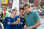 04.09.2018, Hoheellern-Stadion, Leer, GER, FSP, Werder Bremen (GER) vs FC Emmen (NED)<br /> <br /> DFL REGULATIONS PROHIBIT ANY USE OF PHOTOGRAPHS AS IMAGE SEQUENCES AND/OR QUASI-VIDEO.<br /> <br /> im Bild / picture shows<br /> Clemens Fritz (Trainee / Ehrenspielführer SV Werder Bremen) zu Gast beim Freundschaftsspiel, Fritz mit Fan-Selfie, <br /> <br /> Foto © nordphoto / Ewert