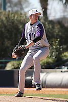 DJ Brown of James Madison University pitching in a game against UC Irvine at the Baseball at the Beach Tournament held at BB&T Coastal Field in Myrtle Beach, SC on February 28, 2010.