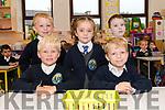 Pupils from Scoil Naomh Eirc, Baile an Mhóraigh, on their first day at school. Back: Dylan Ó Ceallachain, Brídín Ní Fhearghail, Dylan Baicéir Ó Grifín. Front: Lúí Ó Sé, Cathal Ó Sé.